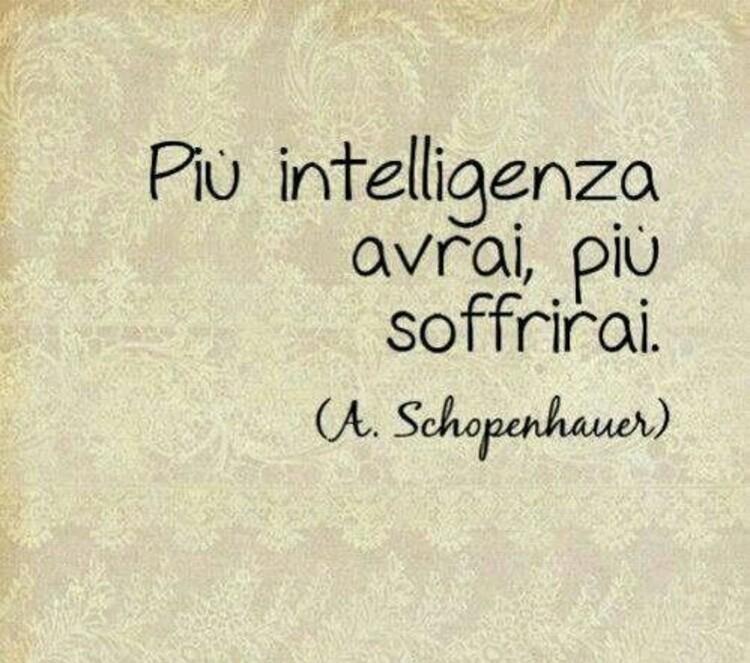 """""""Più intelligenza avrai, più soffrirai."""" - A. Schopenhauer"""