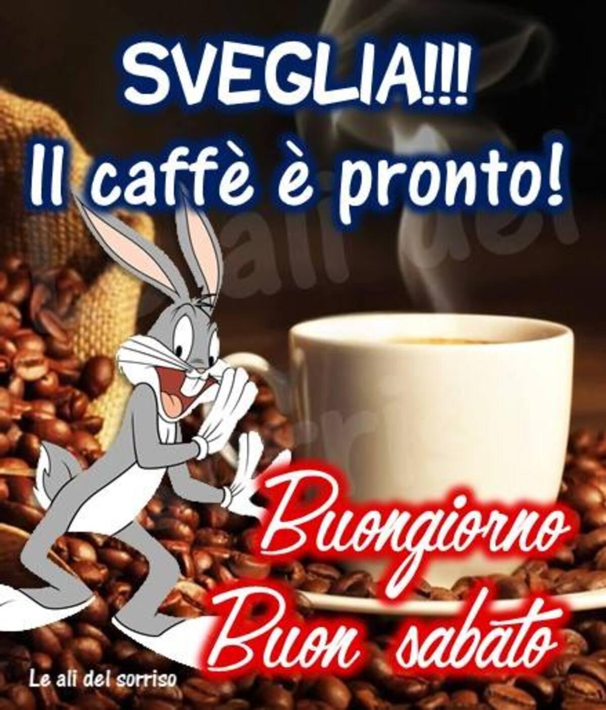 SVEGLIA!!! Il caffè  è pronto! Buongiorno Buon Sabato - Bugs Bunny