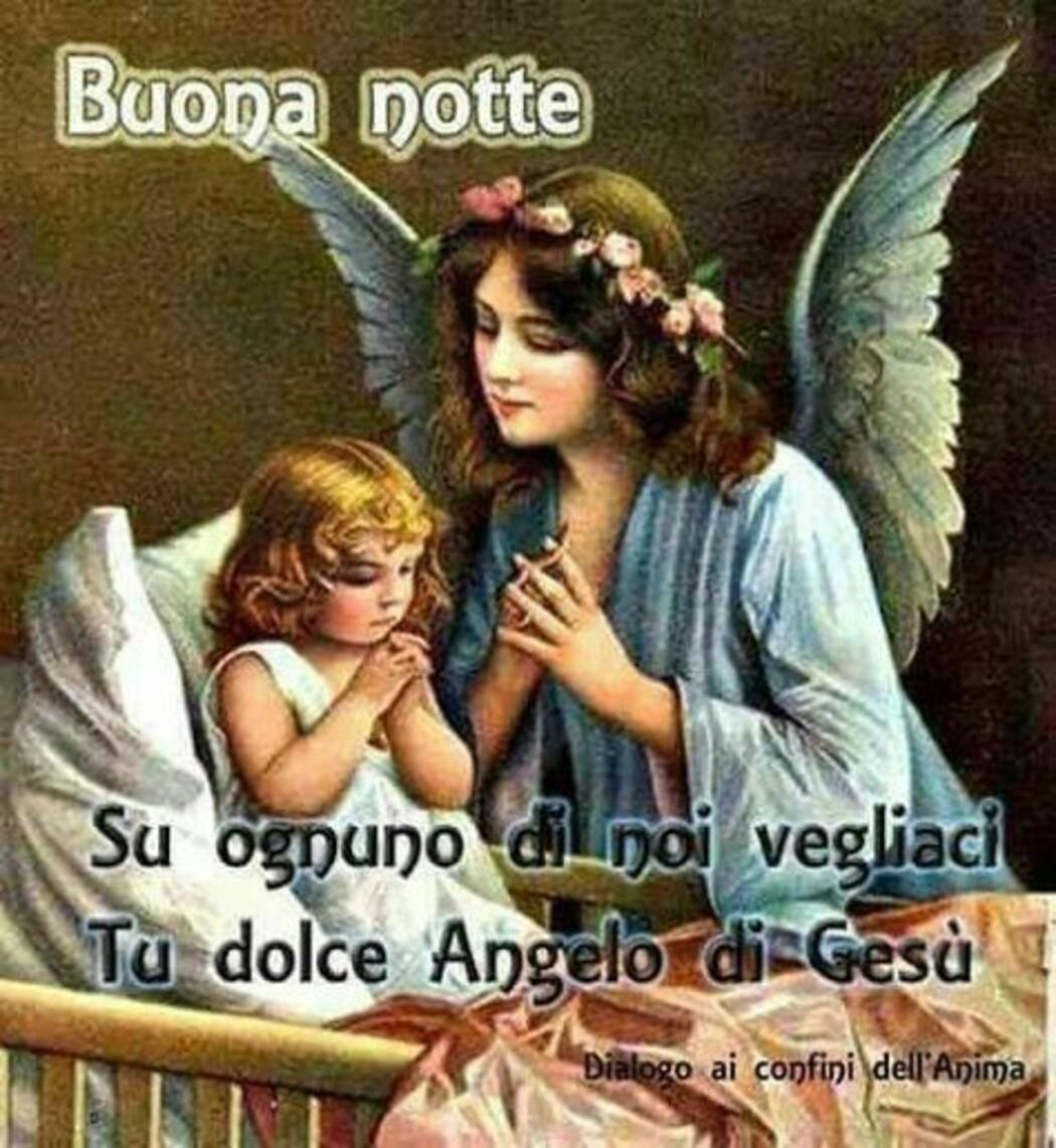 """""""Buona Notte, su ognuno di noi vegliaci, tu Dolce Angelo di Gesù"""" - immagini religiose"""