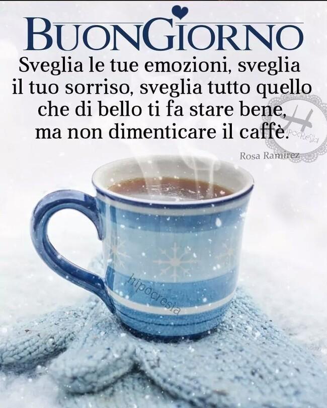 """""""Sveglia le tue emozioni, sveglia il tuo sorriso, sveglia tutto quello che di bello ti fa stare bene, ma non dimenticare il caffè."""" - Buongiorno inverno"""