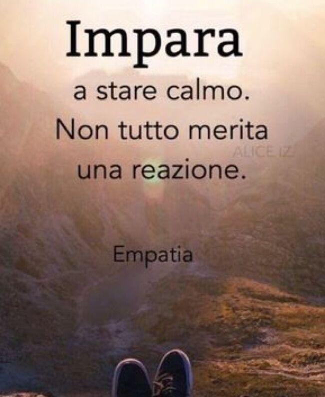 """""""Impara a stare calmo. Non tutto merita una reazione."""" - Empatia"""