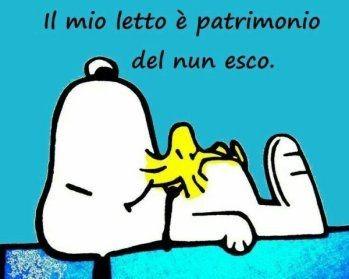 """""""Il mio letto è patrimonio del nun esco"""" - immagini divertenti Snoopy"""