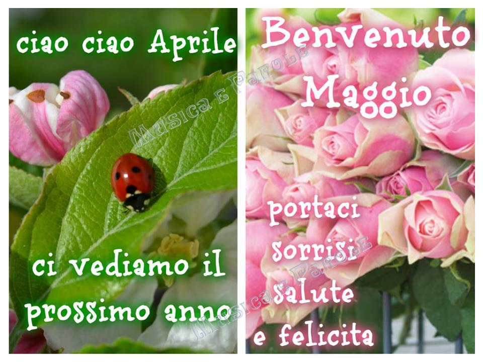 """""""Ciao ciao Aprile ci vediamo il prossimo anno. Benvenuto Maggio portaci sorrisi, salute e felicità"""""""