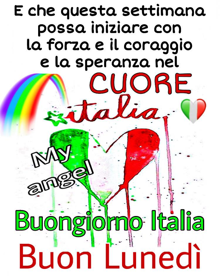 """""""E che questa settimana possa iniziare con la forza e il coraggio e la SPERANZA nel CUORE. Buon Lunedì Italia."""""""