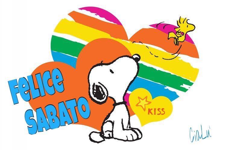 """Buon Sabato arcobaleno"" - Snoopy"