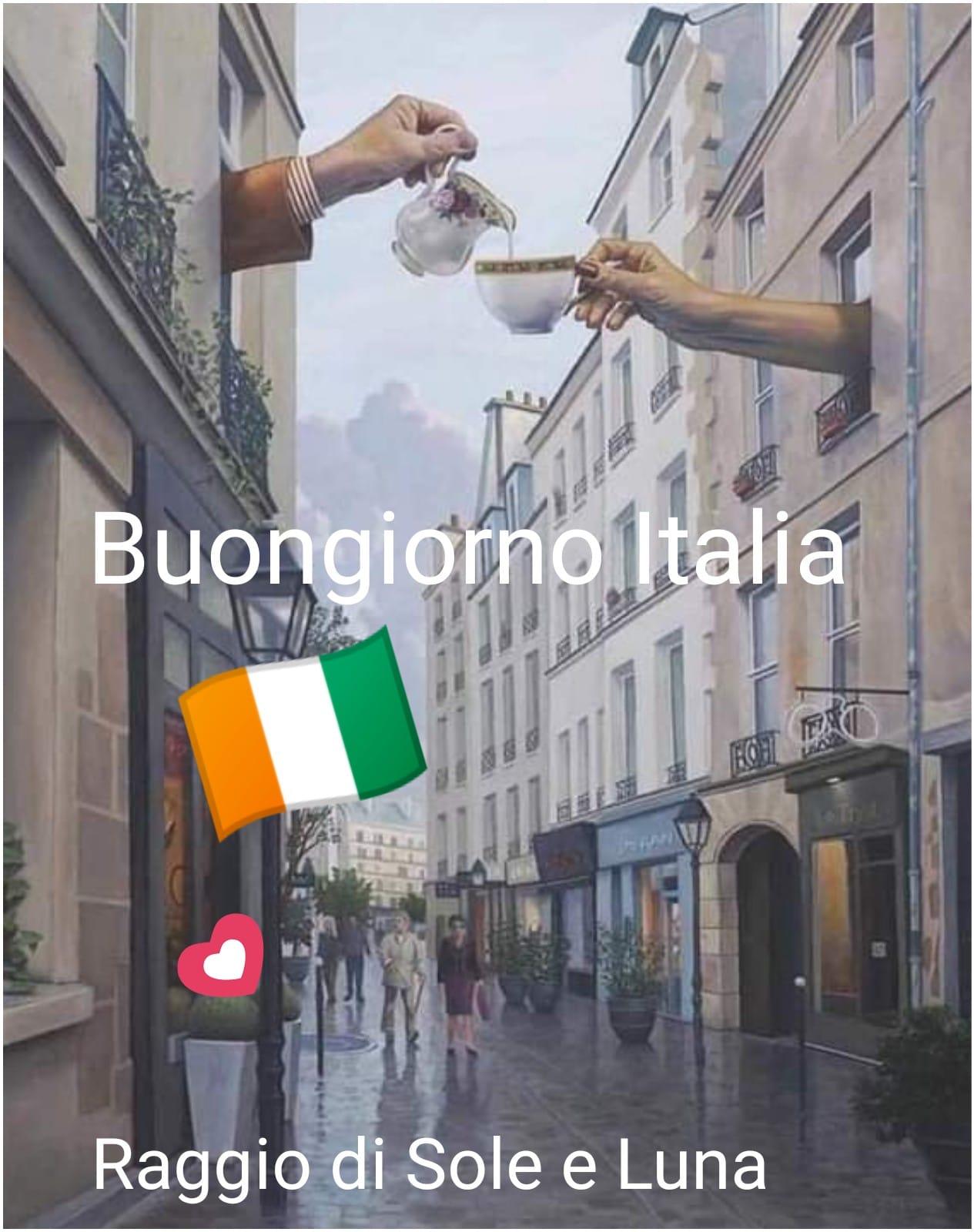 Buongiorno con la bandiera italiana