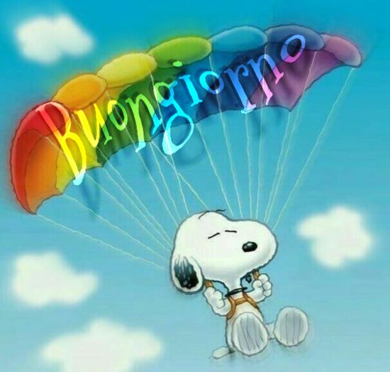 Snoopy Buongiorno arcobaleno