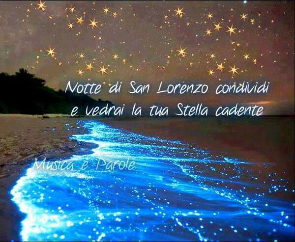"""""""Notte di San Lorenzo. Condividi e vedrai la tua stella cadente."""""""