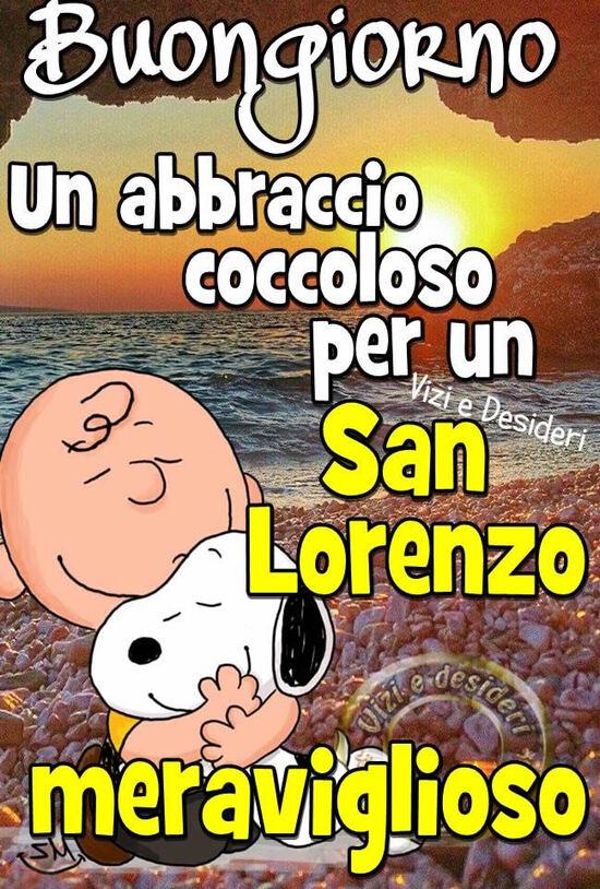 """""""Buongiorno, un abbraccio coccoloso per un San Lorenzo meraviglioso"""" - San Lorenzo immagini Snoopy"""