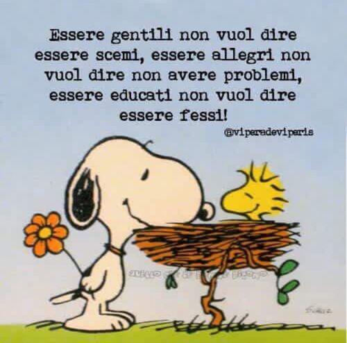 """""""Essere gentili non vuol dire essere scemi, essere allegri non vuol dire non avere problemi, essere educati non vuol dire essere fessi!"""" - vignette con Snoopy"""