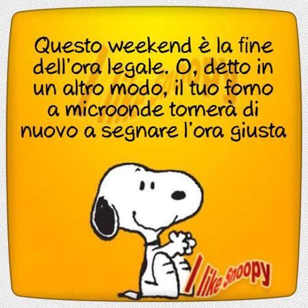 """""""Questo weekend è la fine dell'ora legale. O, detto in un altro modo, il tuo forno a microonde tornerà di nuovo a segnare l'ora giusta!"""" - battute divertenti Snoopy"""