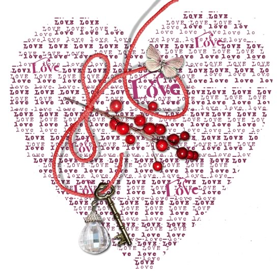 """Un Cuore formato da tante parole """"Love"""", Amore in inglese"""