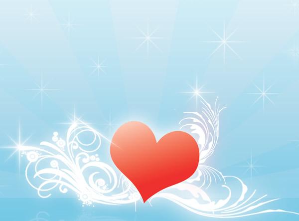 Un Cuore angelico su sfondo azzurro